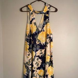 Lulus Navy Blue Floral Print Swing Dr